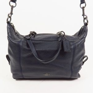 NWT COACH PEBBLE LEATHER SATCHEL MIDNIGHT 67355